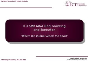 ICT SMB M&A Deal Sourcing & Execution Process Briefing Cover